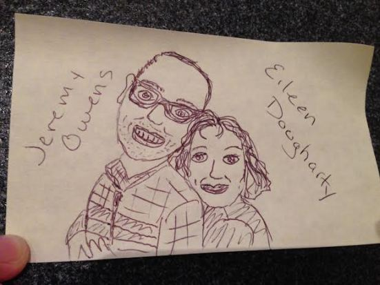 Jeremy Owens and Eileen Dougharty, rendered in post-it note realness.